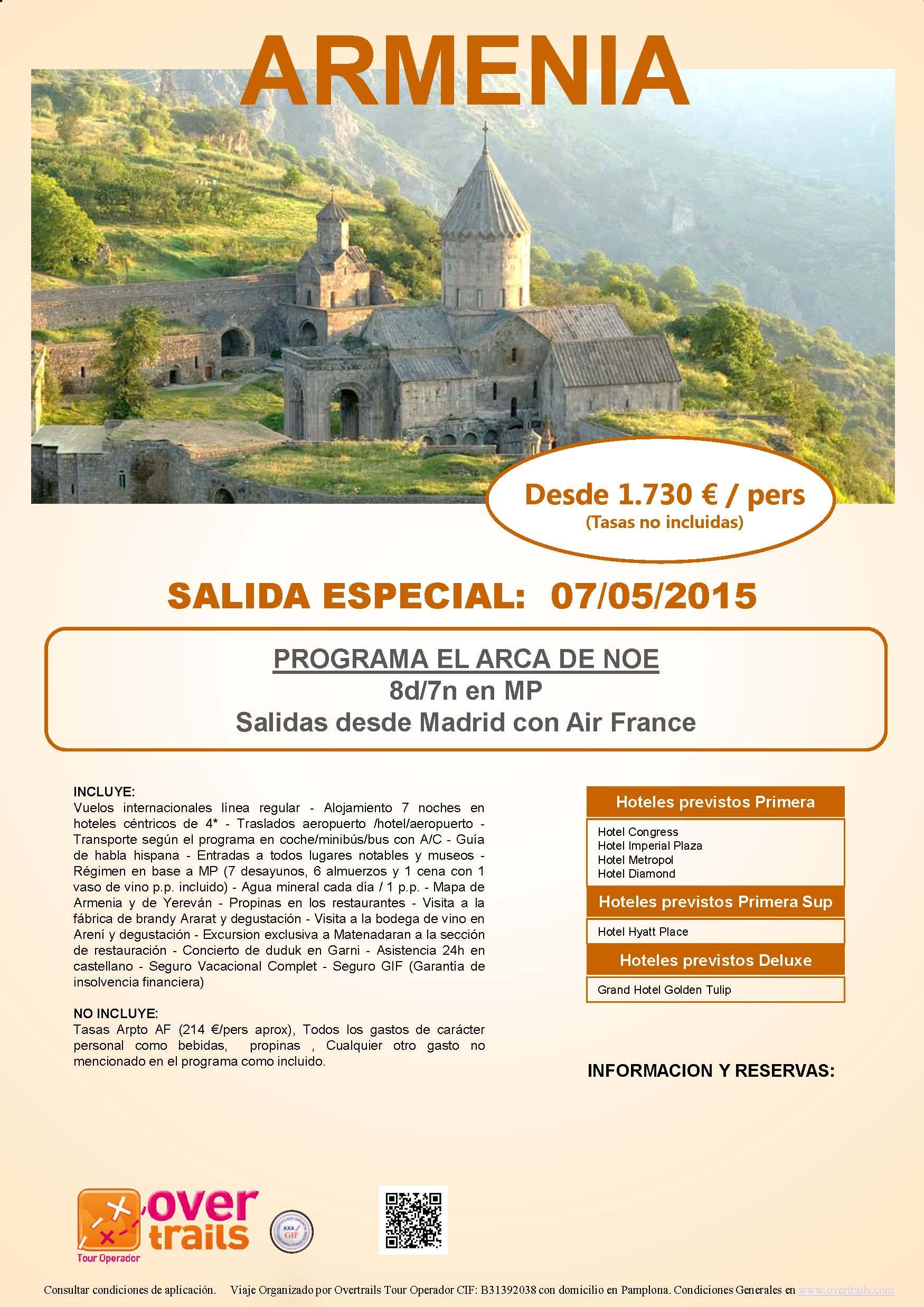 ARMENIA, EL ARCA DE NOÉ Salida 7 de mayo 2015